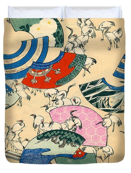 Vintage Japanese Illustration Of Fans And Cranes Duvet Cover by Japanese School
