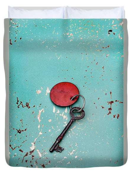 Duvet Cover featuring the photograph Vintage Key With Red Tag by Jill Battaglia