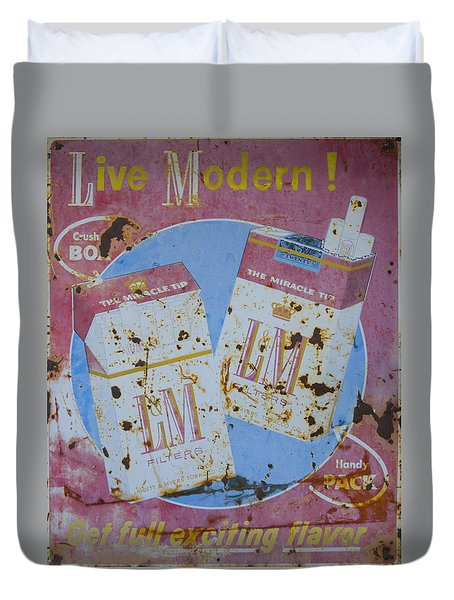 Duvet Cover featuring the photograph Vintage L And M Cigarette Sign by Christina Lihani