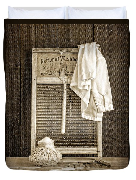 Vintage Laundry Room Duvet Cover by Edward Fielding