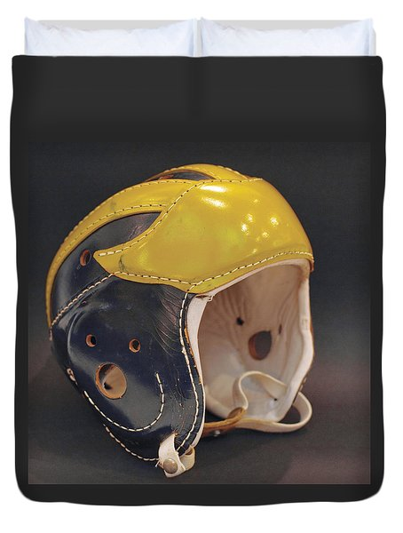 Vintage Leather Wolverine Helmet Duvet Cover
