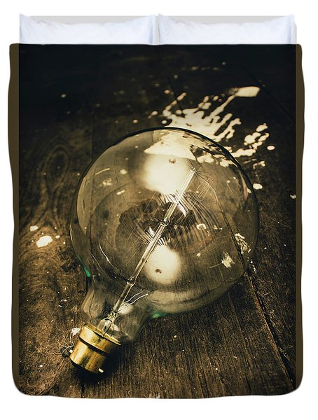 Vintage Light Bulb On Wooden Table Duvet Cover by Jorgo Photography - Wall Art Gallery