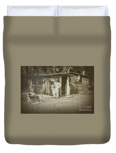 Duvet Cover featuring the photograph Vintage Log Cabin by Linda Phelps