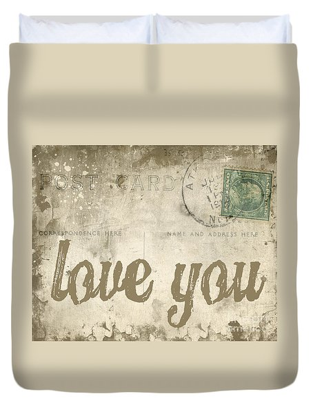 Vintage Love Letters Duvet Cover by Edward Fielding