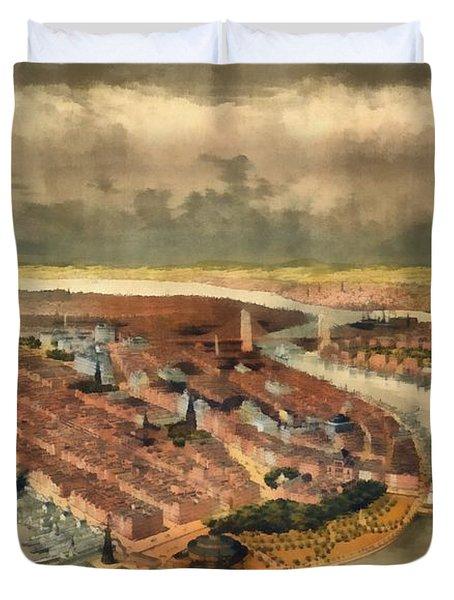 Vintage Manhattan Island Duvet Cover