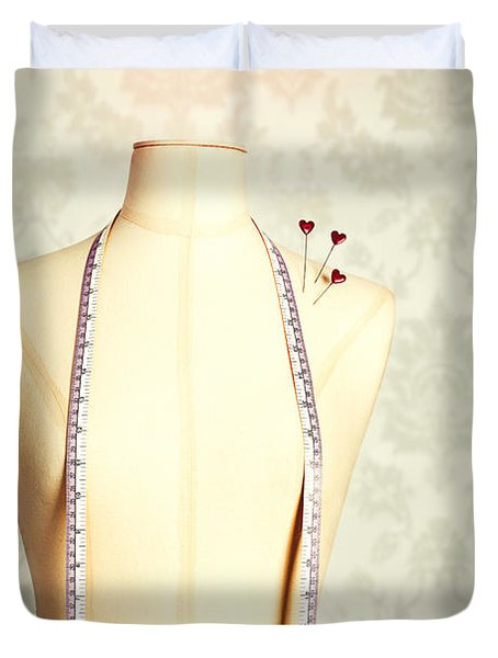 Vintage Mannequin With Tape Measure Duvet Cover