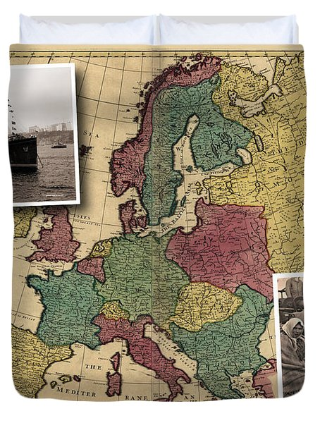 Vintage Map Europe Immigrants Duvet Cover