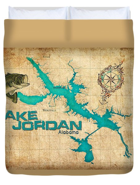 Vintage Map - Lake Jordan Al Duvet Cover