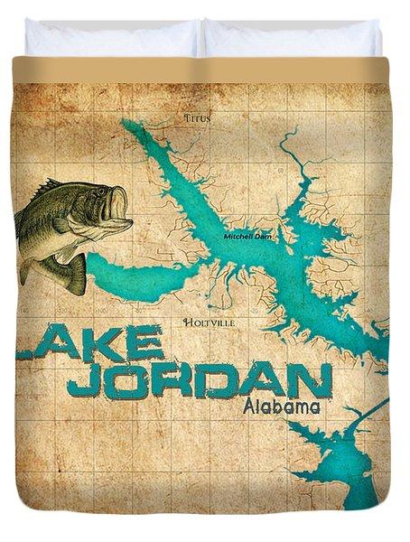 Vintage Map - Lake Jordan Al Duvet Cover