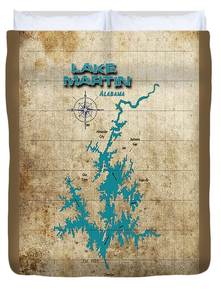 Vintage Map - Lake Martin Al Duvet Cover