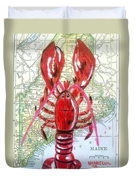 Vintage Map Maine Red Lobster Duvet Cover by Scott D Van Osdol
