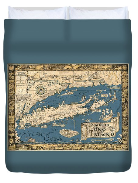 Vintage Map Of Long Island Duvet Cover