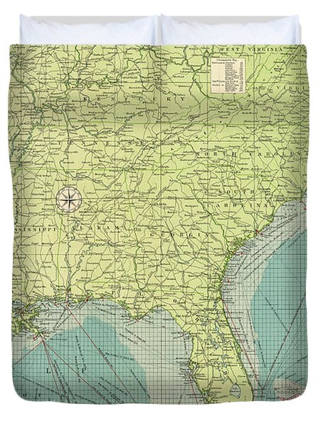Vintage Map Of The Southeastern Us Ports Drawing By - Us map 1922