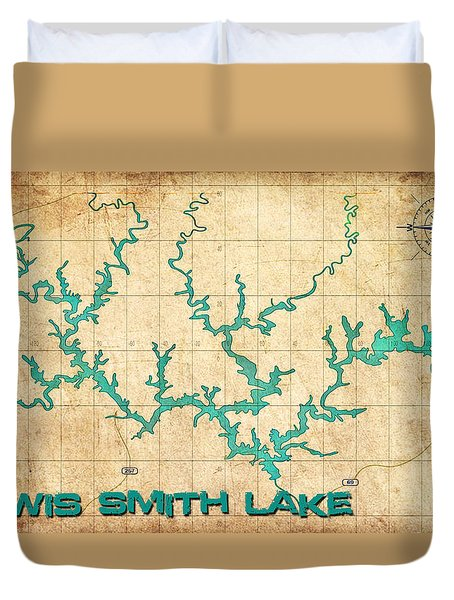 Vintage Map - Smith Lake Al Duvet Cover