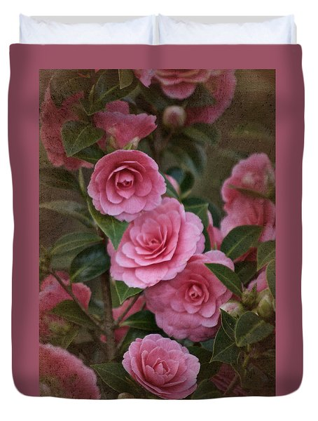Duvet Cover featuring the photograph Vintage March 2017 Camillias No. 2 by Richard Cummings