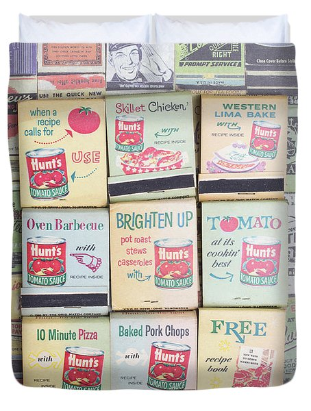 Duvet Cover featuring the photograph Vintage Matchbooks by Edward Fielding