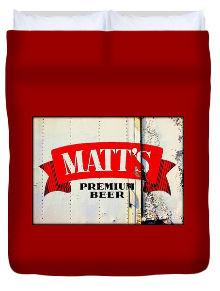 Vintage Matt's Premium Beer Sign Duvet Cover