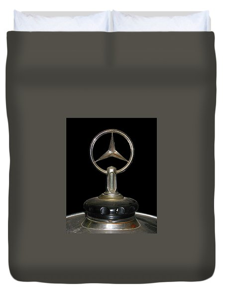 Duvet Cover featuring the photograph Vintage Mercedes Radiator Cap by David and Carol Kelly