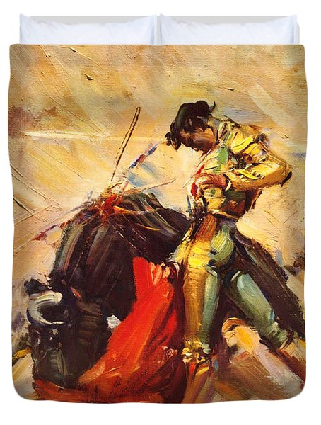 Vintage Mexico Bullfight Travel Poster Duvet Cover by George Pedro