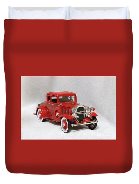Duvet Cover featuring the photograph Vintage Model Fire Chiefcar by Linda Phelps