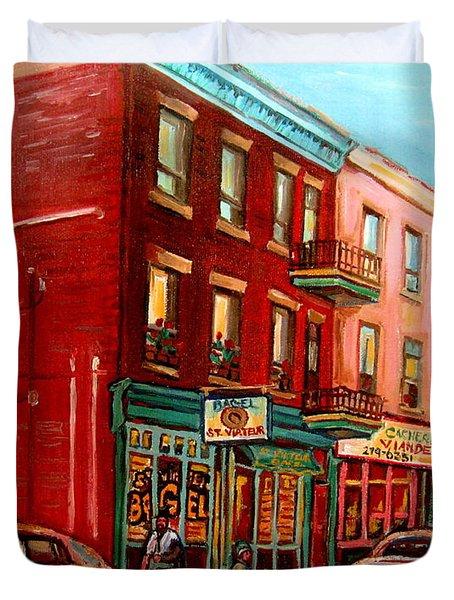 Vintage Montreal Duvet Cover by Carole Spandau