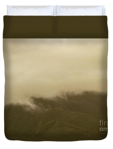 Vintage Mountains Covered By Cloud Duvet Cover
