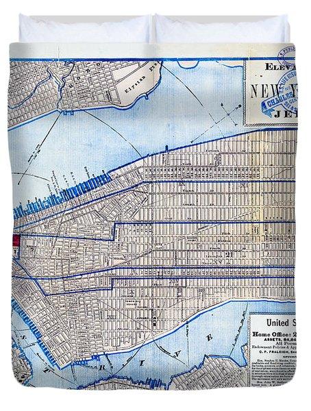 Vintage New York Map Duvet Cover