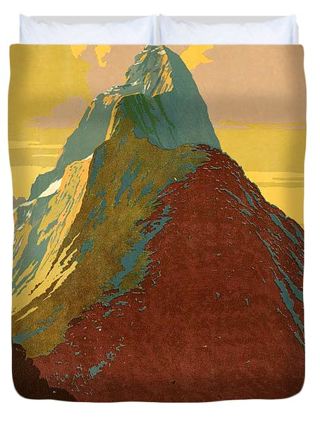 Vintage New Zealand Travel Poster Duvet Cover
