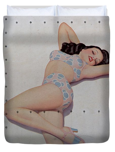 Vintage Nose Art Betties Bulldogs Duvet Cover by Cinema Photography