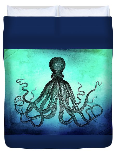 Vintage Octopus On Blue Green Watercolor Duvet Cover