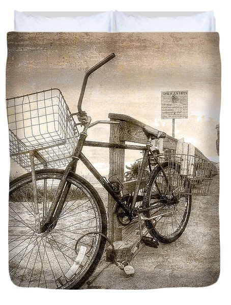 Vintage Ol' Bike Duvet Cover by Debra and Dave Vanderlaan