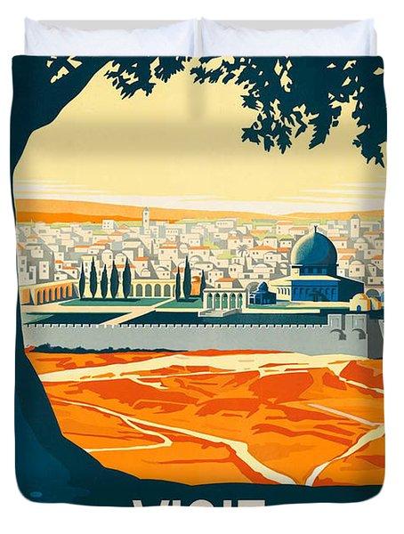 Vintage Palestine Travel Poster Duvet Cover