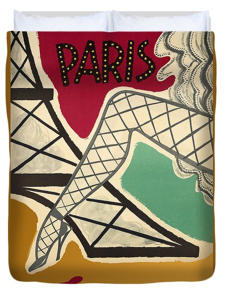 Vintage Paris Cabaret Duvet Cover by Mindy Sommers