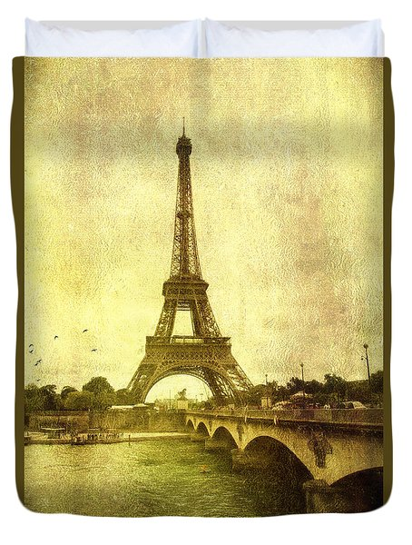 Vintage Paris Duvet Cover by John Rivera