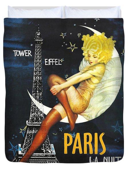 Vintage Paris Moon Duvet Cover
