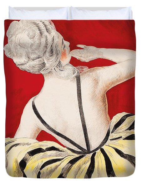 Vintage Parisian Poster Detail Duvet Cover