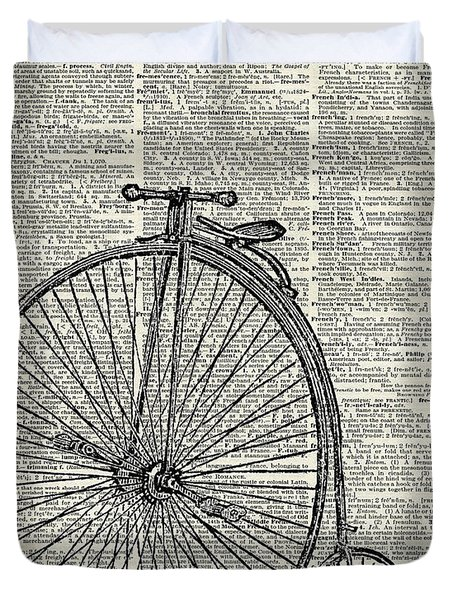 Vintage Penny Farthing Bicycle Duvet Cover