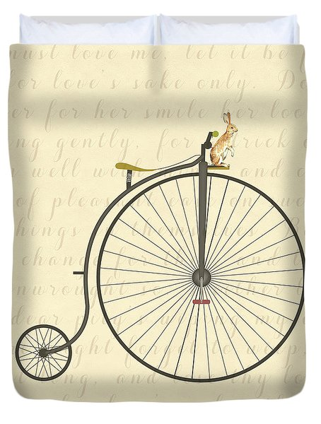 Vintage Penny Farthing Bunny Duvet Cover