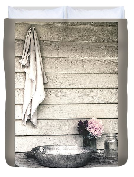 Vintage Peony And Hand Wash Basin Duvet Cover