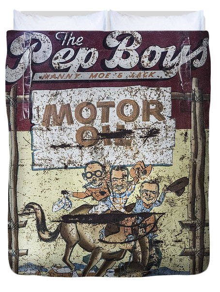 Vintage Pep Boys Sign Duvet Cover by Christina Lihani