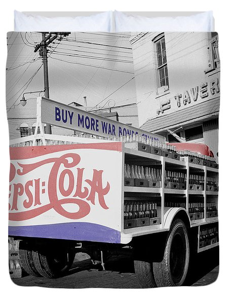 Vintage Pepsi Truck Duvet Cover by Andrew Fare