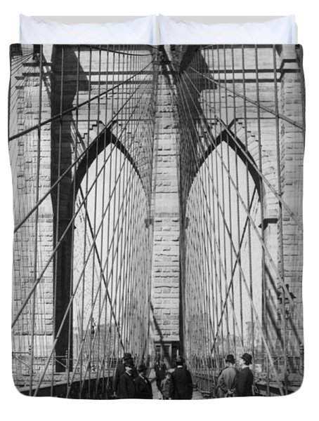 Vintage Photo Brooklyn Bridge Duvet Cover