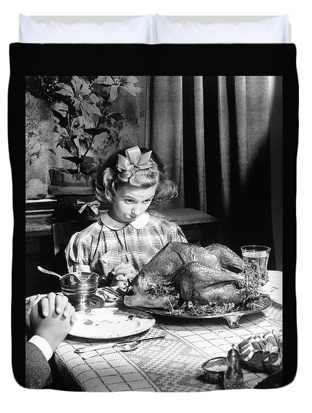 Vintage Photo Depicting Thanksgiving Dinner Duvet Cover by American School