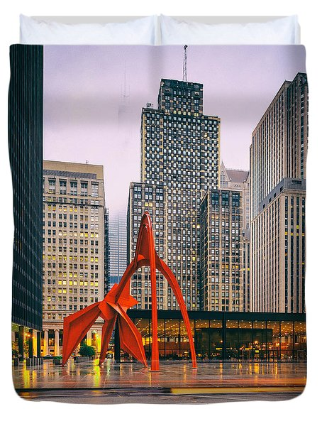 Vintage Photo Of Alexander Calder Flamingo Sculpture Federal Plaza Building - Chicago Illinois  Duvet Cover