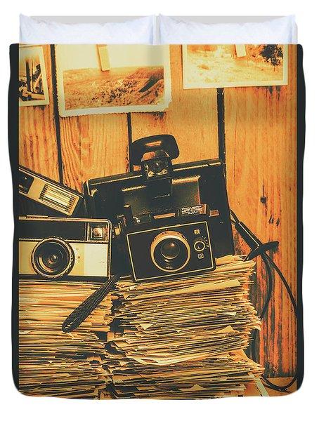 Vintage Photography Stack Duvet Cover