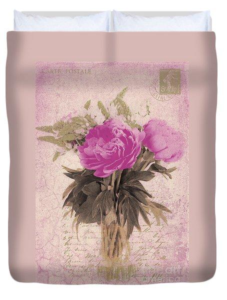 Vintage Pink Peonies Duvet Cover