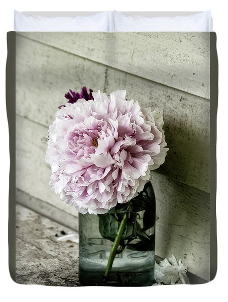 Duvet Cover featuring the photograph Vintage Pink Peony In Ball Jar by Julie Palencia