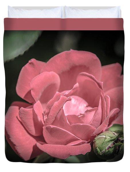 Vintage Pink Rose Duvet Cover