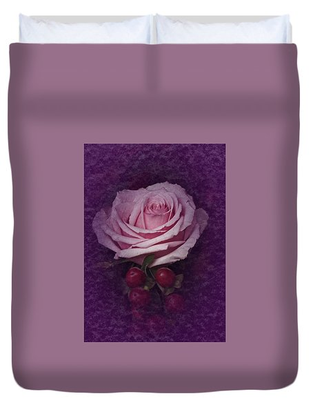Duvet Cover featuring the photograph Vintage Pink Rose Feb 2017 by Richard Cummings