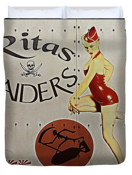 Vintage Pinup Nose Art Ritas Raiders Duvet Cover by Cinema Photography